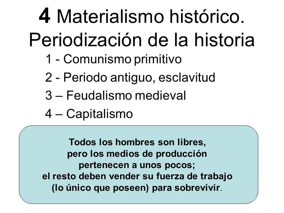 4 Materialismo histórico. Periodización de la historia 1 - Comunismo primitivo 2 - Periodo antiguo, esclavitud 3 – Feudalismo medieval 4 – Capitalismo