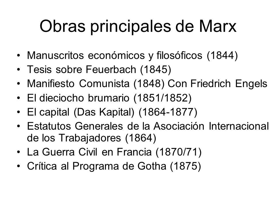 Obras principales de Marx Manuscritos económicos y filosóficos (1844) Tesis sobre Feuerbach (1845) Manifiesto Comunista (1848) Con Friedrich Engels El