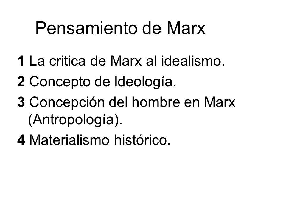 Pensamiento de Marx 1 La critica de Marx al idealismo. 2 Concepto de Ideología. 3 Concepción del hombre en Marx (Antropología). 4 Materialismo históri