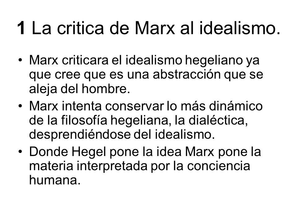 1 La critica de Marx al idealismo. Marx criticara el idealismo hegeliano ya que cree que es una abstracción que se aleja del hombre. Marx intenta cons