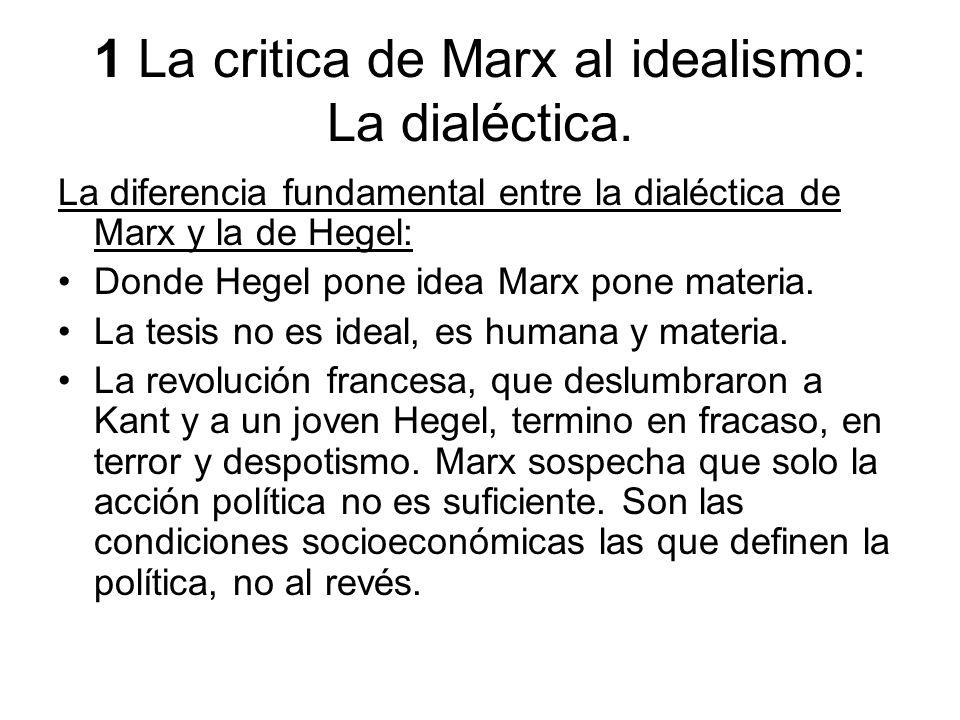 1 La critica de Marx al idealismo: La dialéctica. La diferencia fundamental entre la dialéctica de Marx y la de Hegel: Donde Hegel pone idea Marx pone