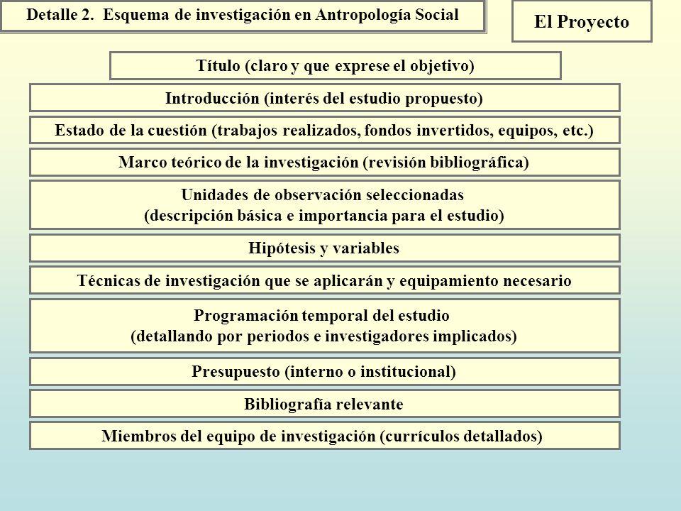 Detalle 2. Esquema de investigación en Antropología Social El Proyecto Introducción (interés del estudio propuesto) Título (claro y que exprese el obj