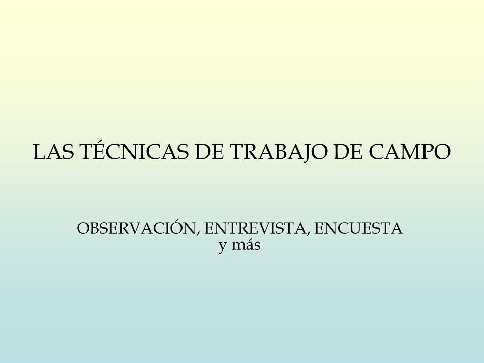 LAS TÉCNICAS DE TRABAJO DE CAMPO OBSERVACIÓN, ENTREVISTA, ENCUESTA y más