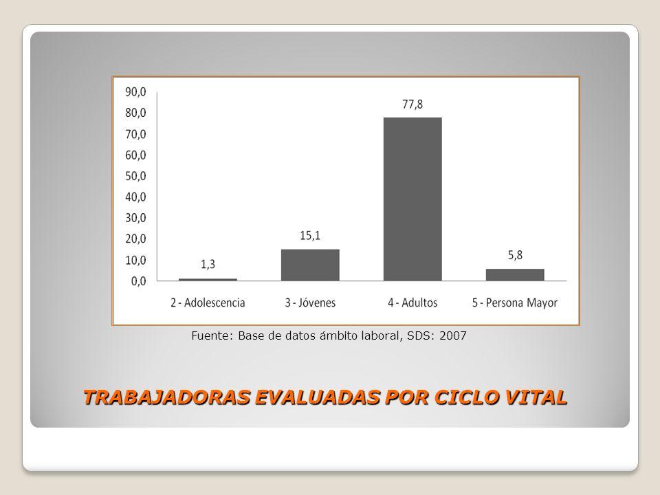 TRABAJADORAS EVALUADAS POR CICLO VITAL Fuente: Base de datos ámbito laboral, SDS: 2007