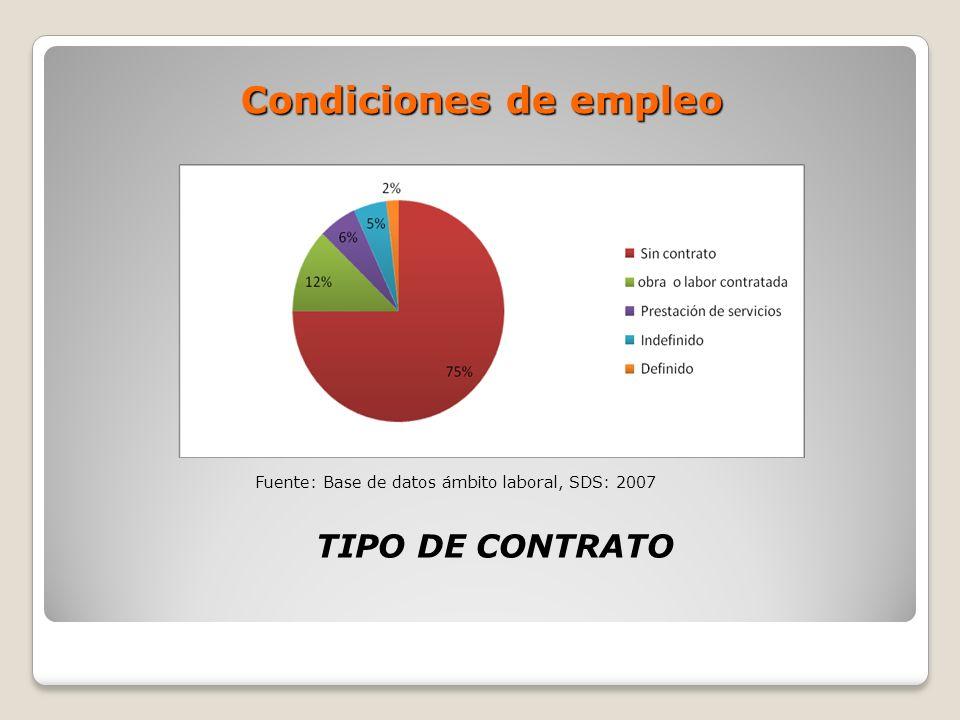 Condiciones de empleo TIPO DE CONTRATO Fuente: Base de datos ámbito laboral, SDS: 2007