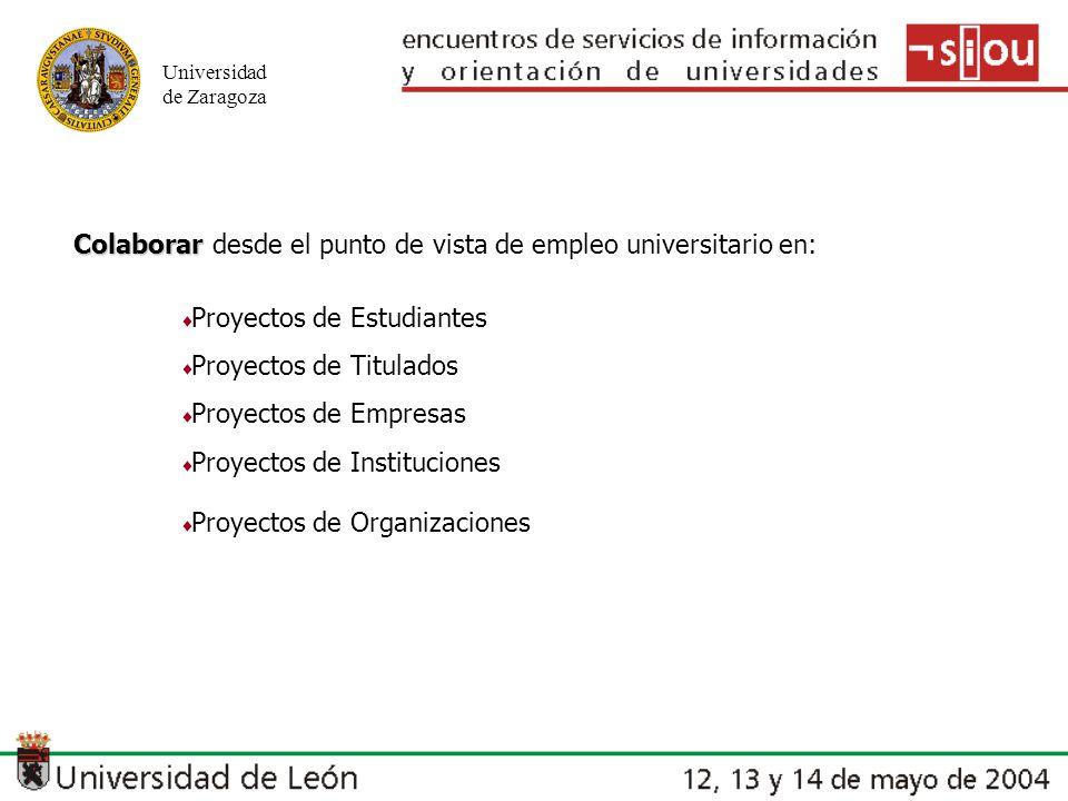 Universidad de Zaragoza Colaborar Colaborar desde el punto de vista de empleo universitario en: Proyectos de Estudiantes Proyectos de Titulados Proyec
