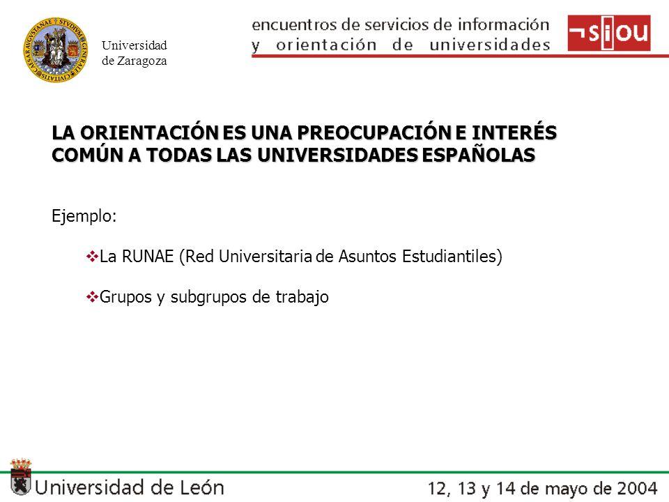 Universidad de Zaragoza LA ORIENTACIÓN ES UNA PREOCUPACIÓN E INTERÉS COMÚN A TODAS LAS UNIVERSIDADES ESPAÑOLAS Ejemplo: La RUNAE (Red Universitaria de Asuntos Estudiantiles) Grupos y subgrupos de trabajo