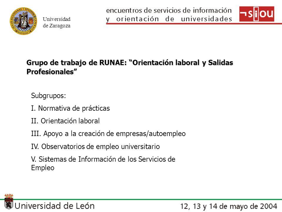 Universidad de Zaragoza Grupo de trabajo de RUNAE: Orientación laboral y Salidas Profesionales Subgrupos: I. Normativa de prácticas II. Orientación la