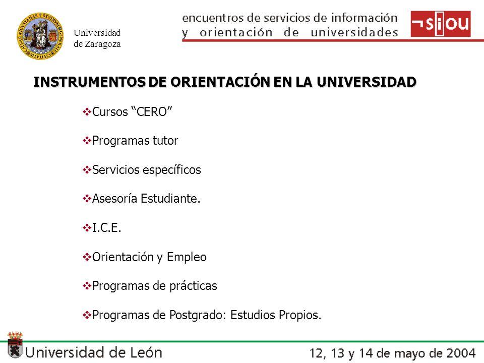Universidad de Zaragoza INSTRUMENTOS DE ORIENTACIÓN EN LA UNIVERSIDAD Cursos CERO Programas tutor Servicios específicos Asesoría Estudiante. I.C.E. Or