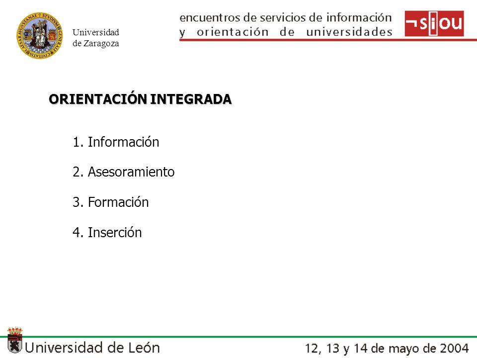 Universidad de Zaragoza ORIENTACIÓN INTEGRADA 1. Información 2. Asesoramiento 3. Formación 4. Inserción
