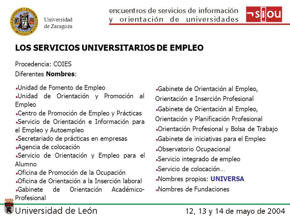 Universidad de Zaragoza Unidad de Fomento de Empleo Unidad de Orientación y Promoción al Empleo Centro de Promoción de Empleo y Prácticas Servicio de Orientación e Información para el Empleo y Autoempleo Secretariado de prácticas en empresas Agencia de colocación Servicio de Orientación y Empleo para el Alumno Oficina de Promoción de la Ocupación Oficina de Orientación a la Inserción laboral Gabinete de Orientación Académico- Profesional Gabinete de Orientación al Empleo, Orientación e Inserción Profesional Gabinete de Orientación al Empleo, Orientación y Planificación Profesional Orientación Profesional y Bolsa de Trabajo Gabinete de iniciativas para el Empleo Observatorio Ocupacional Servicio integrado de empleo Servicio de colocación… Nombres propios: UNIVERSA Nombres de Fundaciones LOS SERVICIOS UNIVERSITARIOS DE EMPLEO Procedencia: COIES Diferentes Nombres: