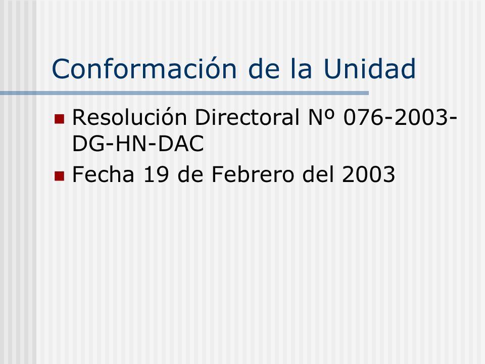 Conformación de la Unidad Resolución Directoral Nº 076-2003- DG-HN-DAC Fecha 19 de Febrero del 2003