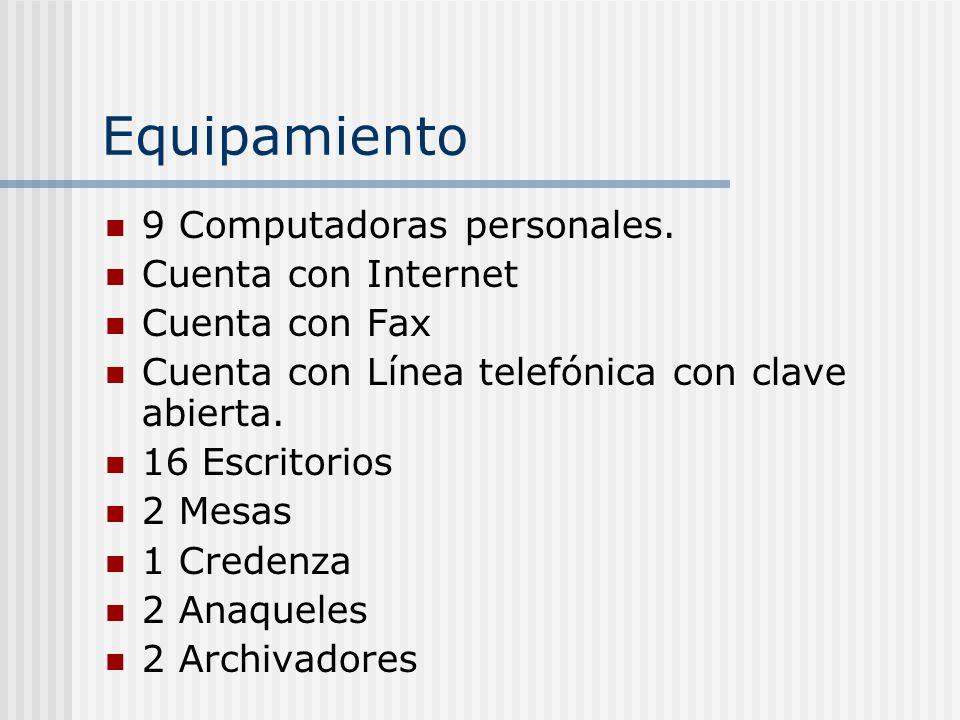 Equipamiento 9 Computadoras personales. Cuenta con Internet Cuenta con Fax Cuenta con Línea telefónica con clave abierta. 16 Escritorios 2 Mesas 1 Cre