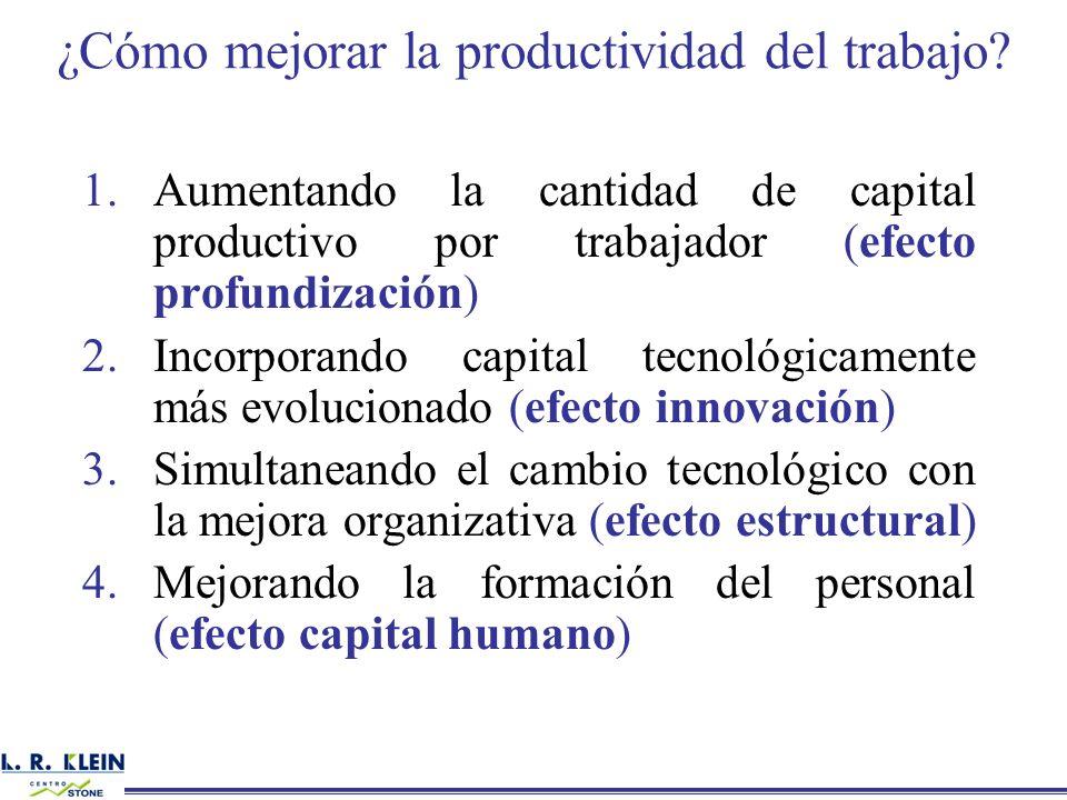 1.Aumentando la cantidad de capital productivo por trabajador (efecto profundización) 2.Incorporando capital tecnológicamente más evolucionado (efecto