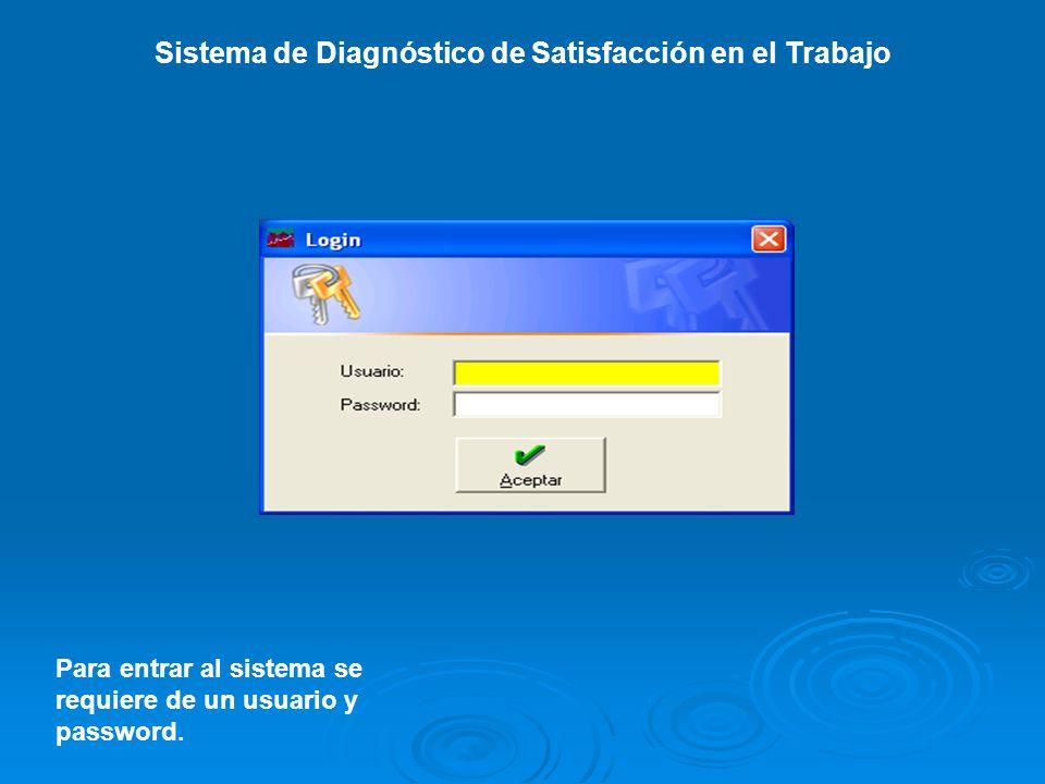 Sistema de Diagnóstico de Satisfacción en el Trabajo Para entrar al sistema se requiere de un usuario y password.