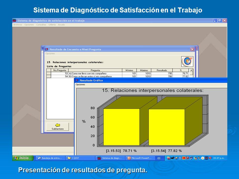 Sistema de Diagnóstico de Satisfacción en el Trabajo Presentación de resultados de pregunta.