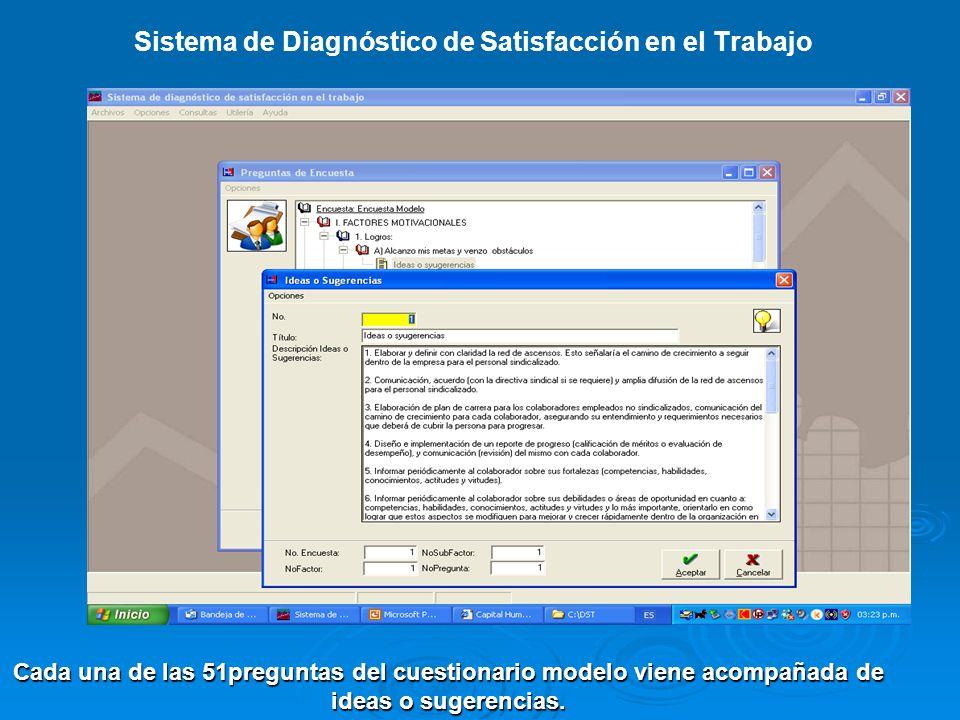 Sistema de Diagnóstico de Satisfacción en el Trabajo Cada una de las 51preguntas del cuestionario modelo viene acompañada de ideas o sugerencias.