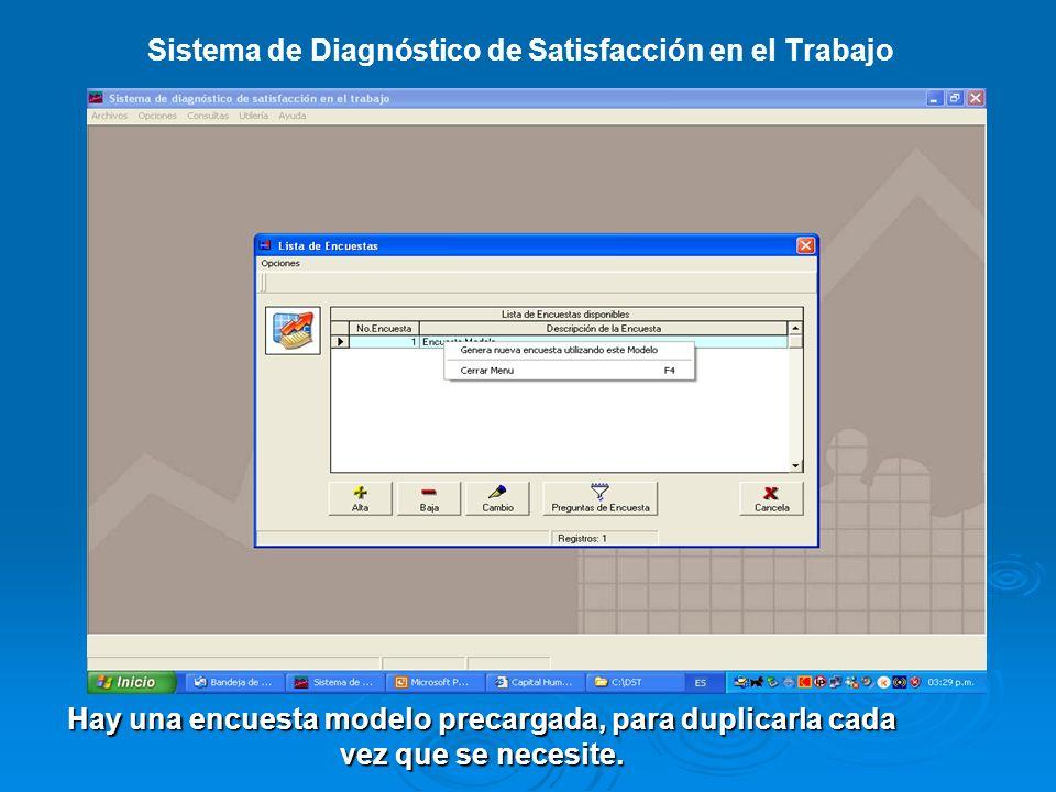 Sistema de Diagnóstico de Satisfacción en el Trabajo Ventana para dar de alta los puestos genéricos.