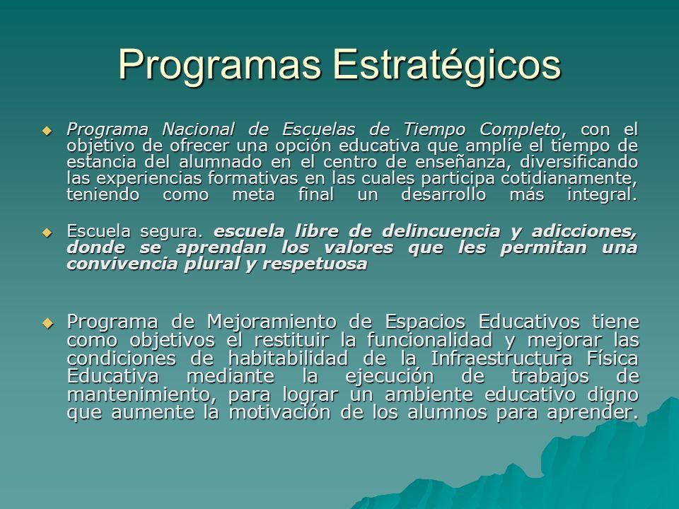 Programas Estratégicos Programa Nacional de Escuelas de Tiempo Completo, con el objetivo de ofrecer una opción educativa que amplíe el tiempo de estan