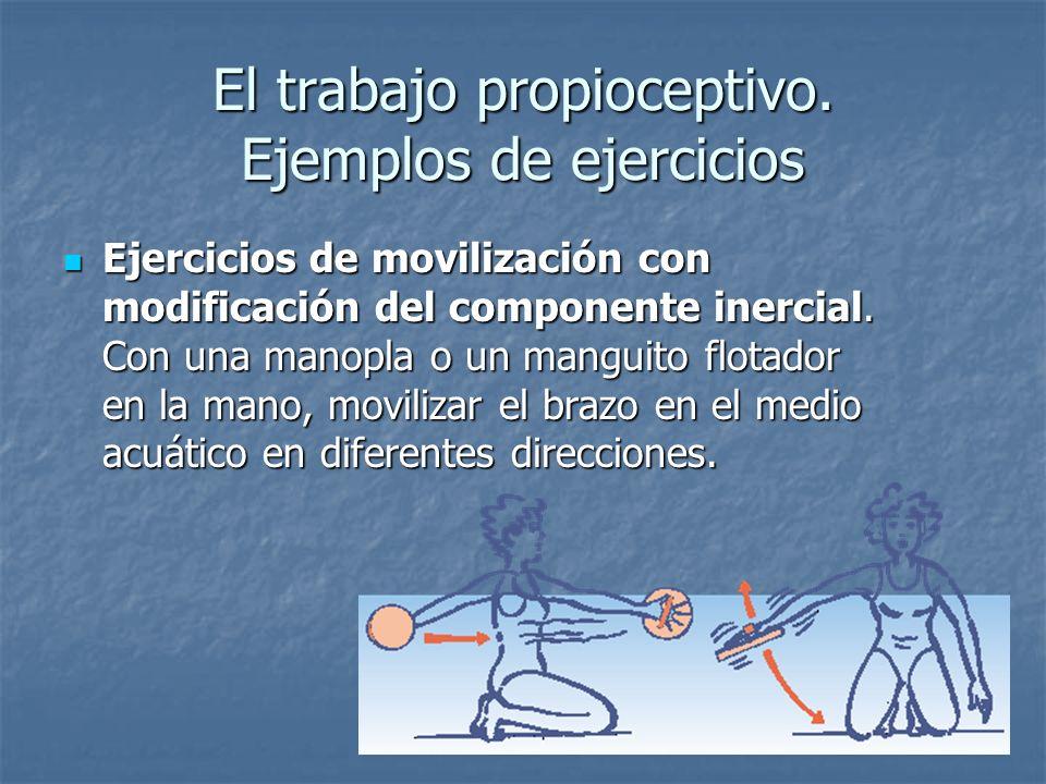 El trabajo propioceptivo. Ejemplos de ejercicios Ejercicios de movilización con modificación del componente inercial. Con una manopla o un manguito fl