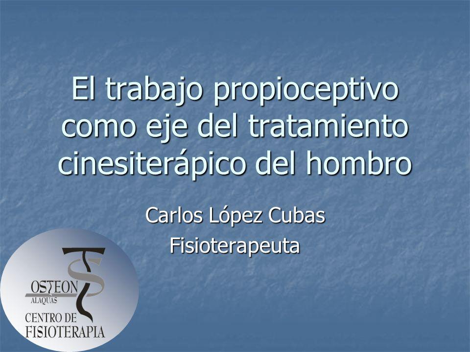 El trabajo propioceptivo como eje del tratamiento cinesiterápico del hombro Carlos López Cubas Fisioterapeuta