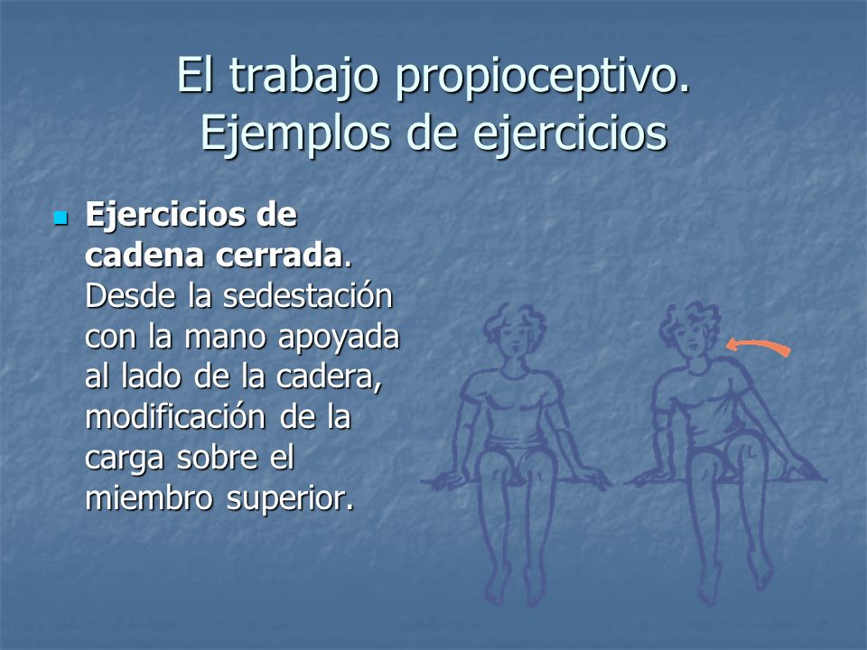 El trabajo propioceptivo. Ejemplos de ejercicios Ejercicios de cadena cerrada. Desde la sedestación con la mano apoyada al lado de la cadera, modifica
