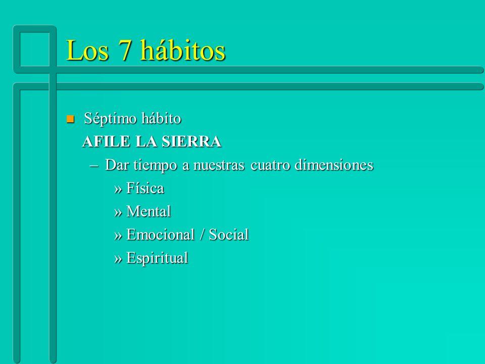 Los 7 hábitos n Séptimo hábito AFILE LA SIERRA AFILE LA SIERRA –Dar tiempo a nuestras cuatro dimensiones »Física »Mental »Emocional / Social »Espiritu