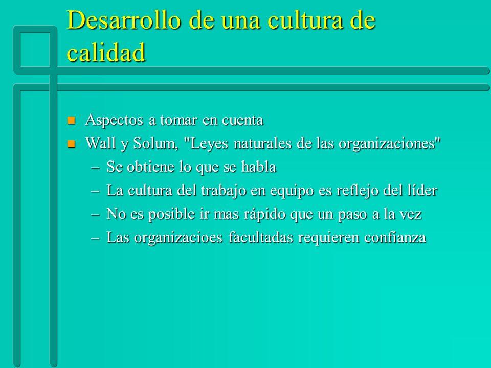 Desarrollo de una cultura de calidad n Aspectos a tomar en cuenta n Wall y Solum,