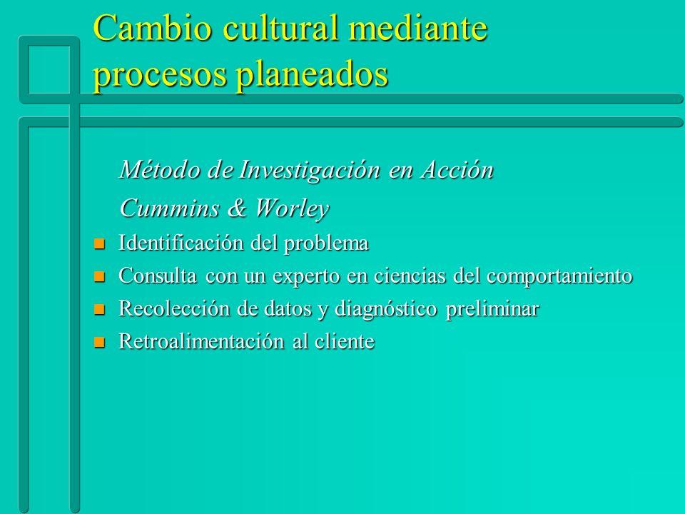 Cambio cultural mediante procesos planeados Método de Investigación en Acción Método de Investigación en Acción Cummins & Worley Cummins & Worley n Id