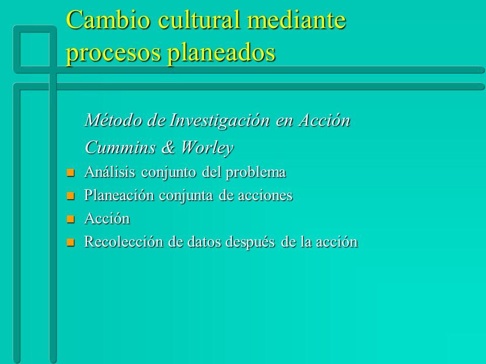 Cambio cultural mediante procesos planeados Método de Investigación en Acción Método de Investigación en Acción Cummins & Worley Cummins & Worley n An