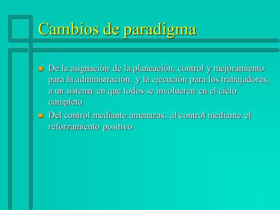 Cambios de paradigma n De la asignación de la planeación, control y mejoramiento para la administración, y la ejecución para los trabajadores, a un si