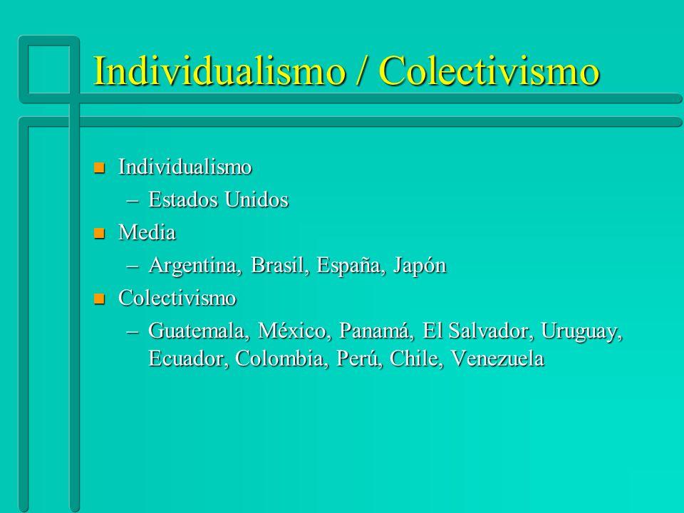 Individualismo / Colectivismo n Individualismo –Estados Unidos n Media –Argentina, Brasil, España, Japón n Colectivismo –Guatemala, México, Panamá, El