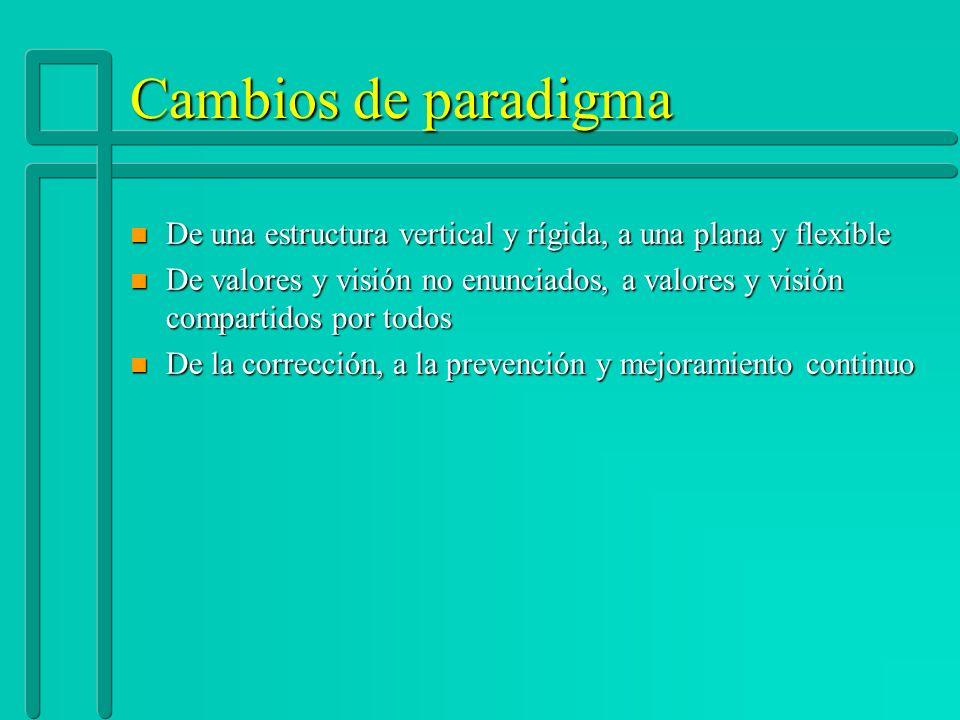 Cambios de paradigma n De una estructura vertical y rígida, a una plana y flexible n De valores y visión no enunciados, a valores y visión compartidos