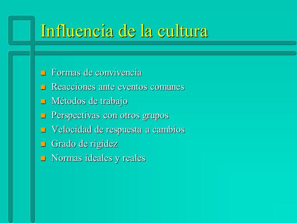 Influencia de la cultura n Formas de convivencia n Reacciones ante eventos comunes n Métodos de trabajo n Perspectivas con otros grupos n Velocidad de