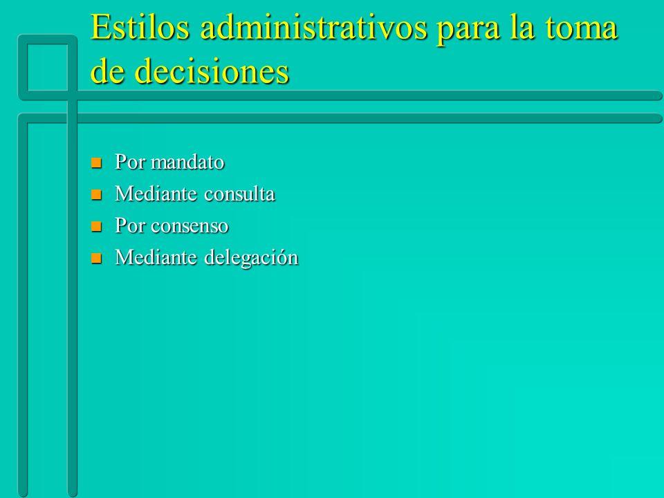 Estilos administrativos para la toma de decisiones n Por mandato n Mediante consulta n Por consenso n Mediante delegación