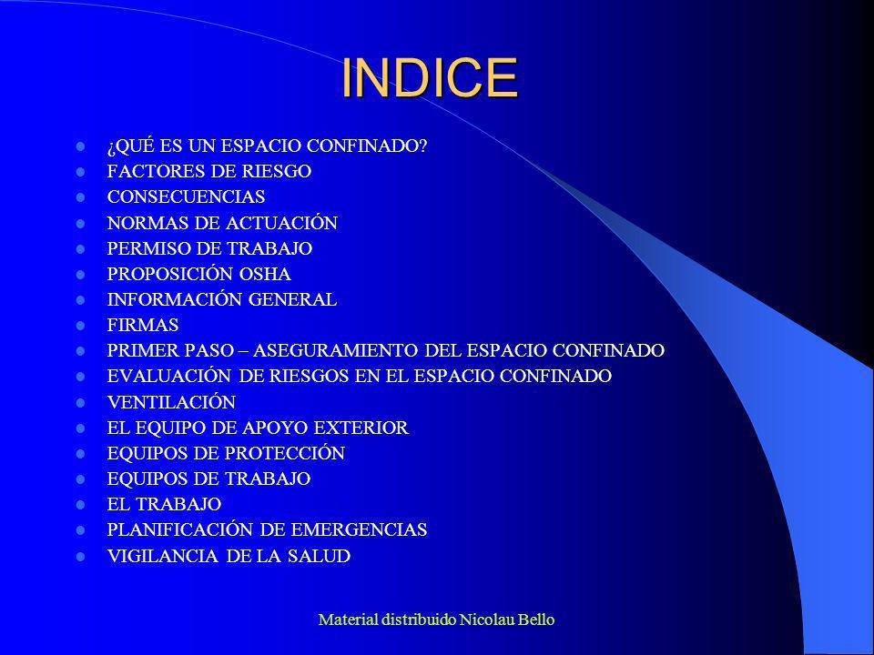 Material distribuido Nicolau Bello VENTILACIÓN VENTILACIÓN NATURAL + FORZADA ANTES Y DURANTE EL TRABAJO NO VENTILAR NUNCA CON OXÍGENO PRESTAR ESPECIAL ATENCIÓN EN NO INTRODUCIR GASES GENERADOS POR EL EQUIPO DE VENTILACIÓN SI EN EL TRABAJO SE GENERAN CONTAMINANTES – EXTRACCIÓN LOCALIZADA EXTRACCIÓN EN ZONAS VERTICALES – EN ZONAS INFERIORES (PARTE BAJA) VELOCIDAD DEL AIRE NO DEBE SER INFERIOR A 0.5 m/s