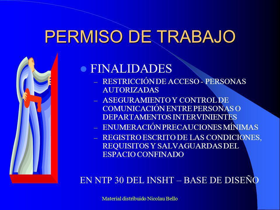 Material distribuido Nicolau Bello PERMISO DE TRABAJO – PROPOSICIÓN OSHA LISTA DE COMPROBACIONES A INCLUIR EN LOS PERMISOS DE ENTRADA – RIESGOS DEL ESPACIO – MEDIDAS DE BLOQUEO Y AISLAMIENTO – PURGADO, INERTIZADO, VENTILACIÓN Y LAVADO – CONDICIONES ACEPTABLES DE LA ATMÓSFERA INTERIOR Y RESULTADO DE LAS PRUEBAS DE GASES – MEDICIÓN O PRUEBAS DE GASES – RESCATE Y COMUNICACIÓN – EPIS NECESARIOS