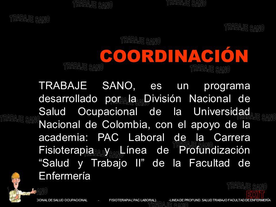 DIVISIÓN NACIONAL DE SALUD OCUPACIONAL - FISIOTERAPIA ( PAC LABORAL) -LINEA DE PROFUND. SALUD TRABAJO FACULTAD DE ENFERMERÌA TRABAJE SANO, es un progr