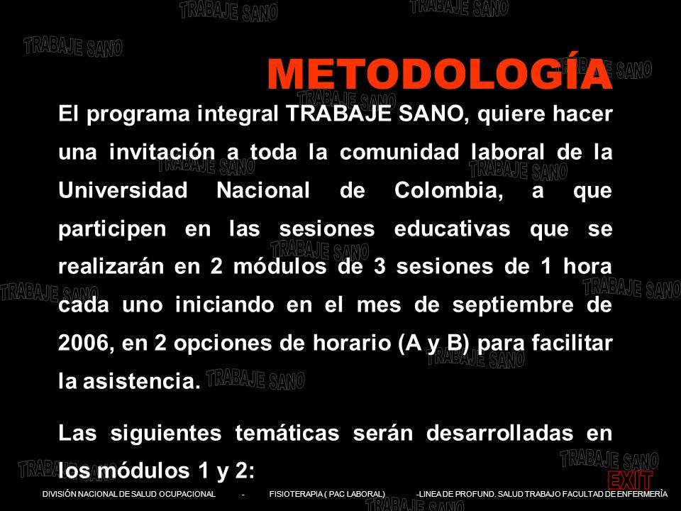 DIVISIÓN NACIONAL DE SALUD OCUPACIONAL - FISIOTERAPIA ( PAC LABORAL) -LINEA DE PROFUND. SALUD TRABAJO FACULTAD DE ENFERMERÌA El programa integral TRAB