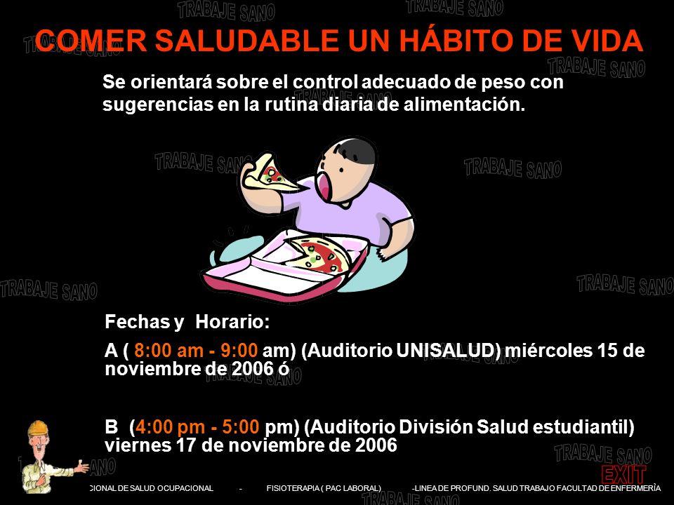 DIVISIÓN NACIONAL DE SALUD OCUPACIONAL - FISIOTERAPIA ( PAC LABORAL) -LINEA DE PROFUND. SALUD TRABAJO FACULTAD DE ENFERMERÌA COMER SALUDABLE UN HÁBITO