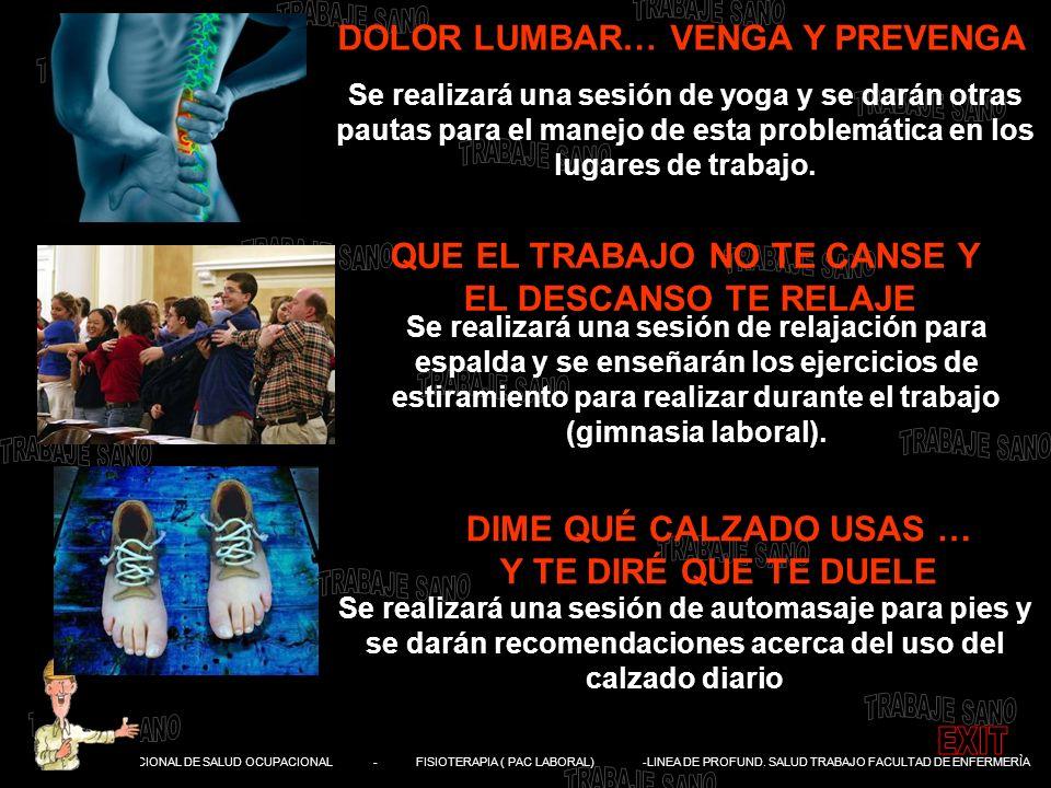 DIVISIÓN NACIONAL DE SALUD OCUPACIONAL - FISIOTERAPIA ( PAC LABORAL) -LINEA DE PROFUND. SALUD TRABAJO FACULTAD DE ENFERMERÌA DOLOR LUMBAR… VENGA Y PRE