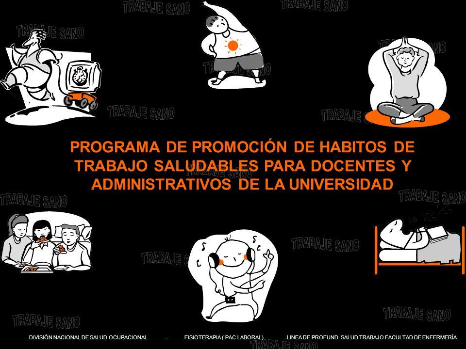 PROGRAMA DE PROMOCIÓN DE HABITOS DE TRABAJO SALUDABLES PARA DOCENTES Y ADMINISTRATIVOS DE LA UNIVERSIDAD