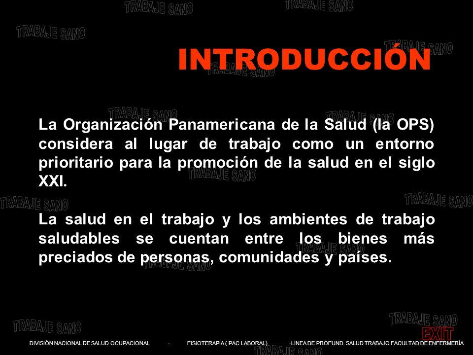 DIVISIÓN NACIONAL DE SALUD OCUPACIONAL - FISIOTERAPIA ( PAC LABORAL) -LINEA DE PROFUND. SALUD TRABAJO FACULTAD DE ENFERMERÌA La Organización Panameric