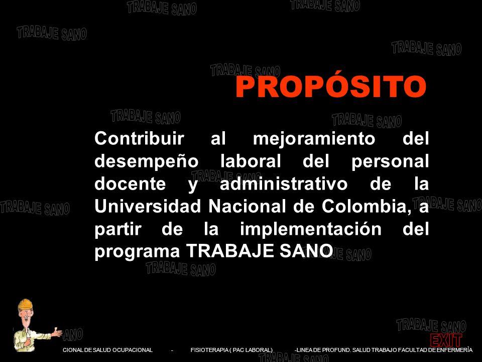DIVISIÓN NACIONAL DE SALUD OCUPACIONAL - FISIOTERAPIA ( PAC LABORAL) -LINEA DE PROFUND. SALUD TRABAJO FACULTAD DE ENFERMERÌA Contribuir al mejoramient