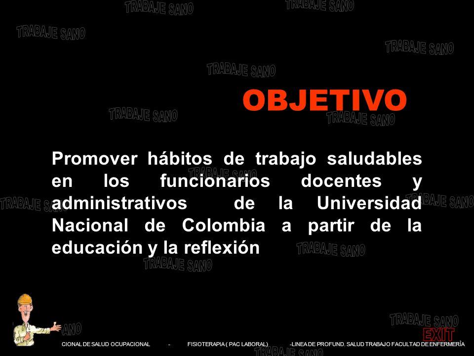 DIVISIÓN NACIONAL DE SALUD OCUPACIONAL - FISIOTERAPIA ( PAC LABORAL) -LINEA DE PROFUND. SALUD TRABAJO FACULTAD DE ENFERMERÌA Promover hábitos de traba