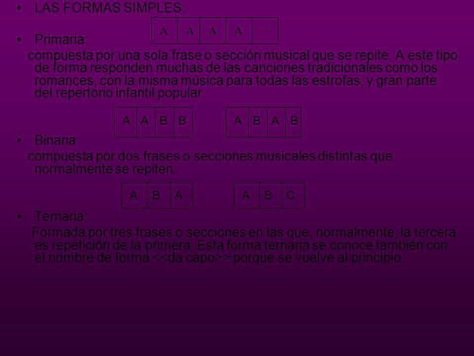 LAS FORMAS SIMPLES: Primaria: compuesta por una sola frase o sección musical que se repite. A este tipo de forma responden muchas de las canciones tra