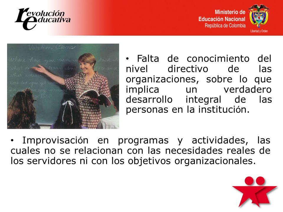 Falta de conocimiento del nivel directivo de las organizaciones, sobre lo que implica un verdadero desarrollo integral de las personas en la instituci