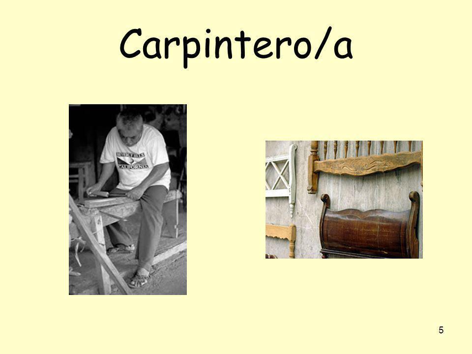 4 albañil Yo soy albañil. (Yo) Trabajo en la construcción (en la obra). (Yo) Hago casas, calles, parques…