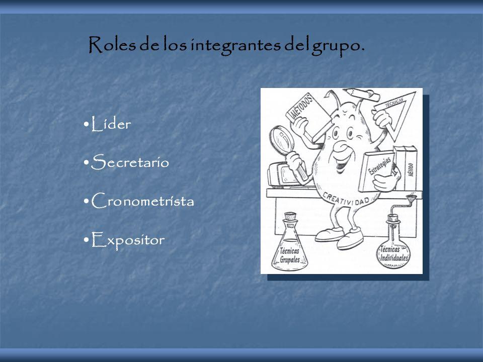 Roles de los integrantes del grupo. Líder Secretario Cronometrísta Expositor