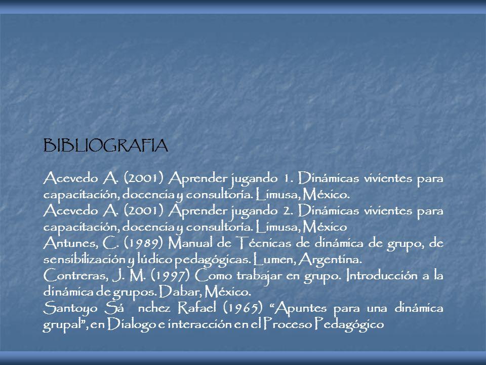 BIBLIOGRAFIA Acevedo A. (2001) Aprender jugando 1. Dinámicas vivientes para capacitación, docencia y consultoría. Limusa, México. Acevedo A. (2001) Ap